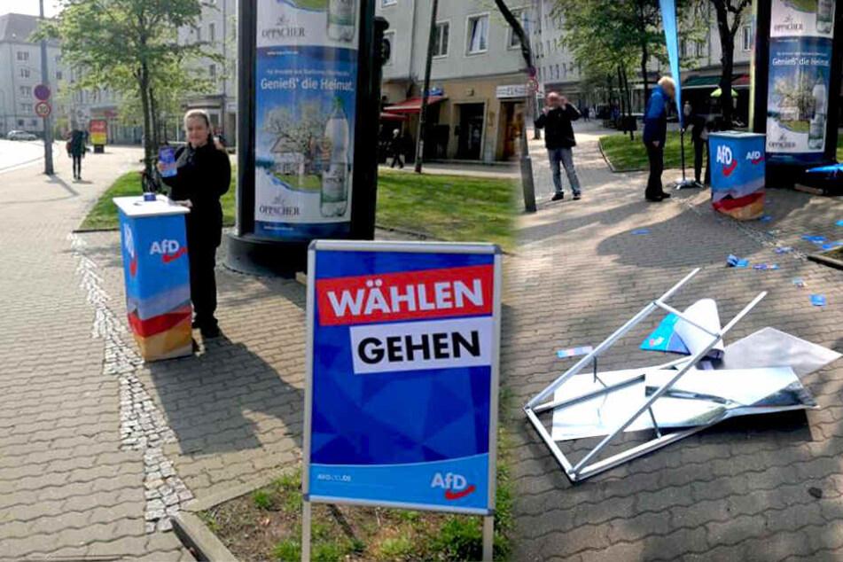 Vorher-Nachher-Foto: Eine Betreiberin am Wahlinformationsstand der Alternative für Deutschland (links) und der Ort des Geschehens nach der Sachbeschädigung (rechts).