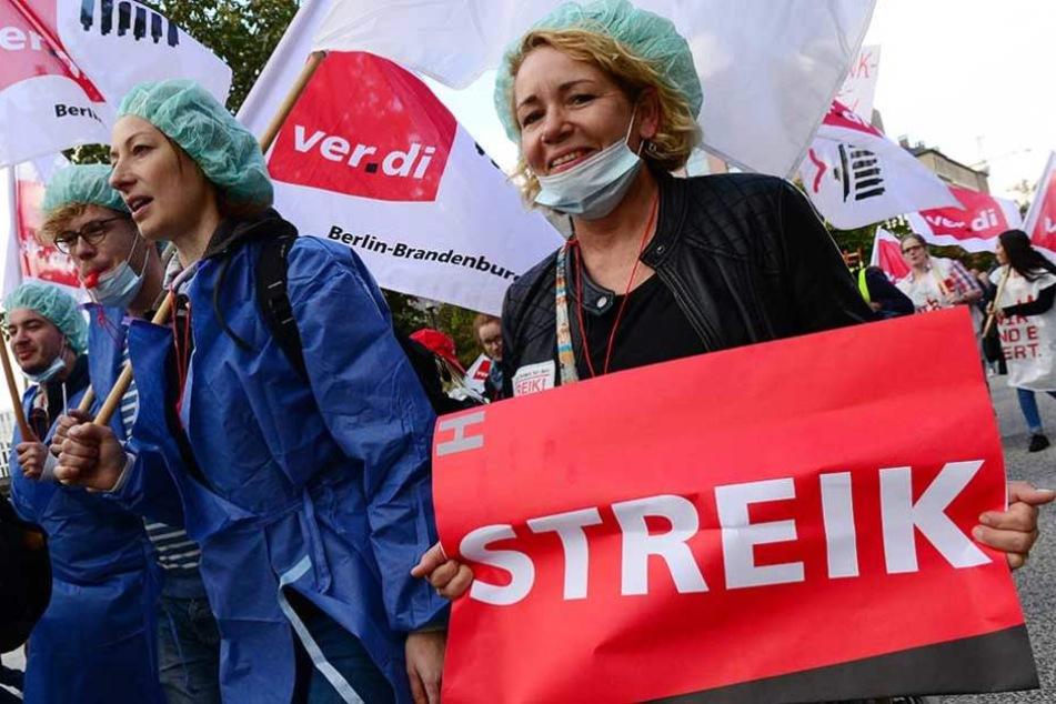 Seit Montag streiken die Pflegerinnen und Pfleger der Charité.