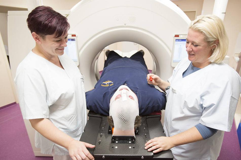 Der neue Computer-Tomograph der Leipziger Uniklinik im Einsatz.