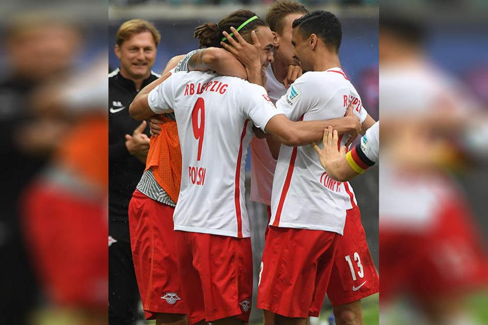 Torjubel bei den Roten Bullen: Gegen die Sportfreunde Dorfmerkingen soll sich RB über viele Tore freuen.