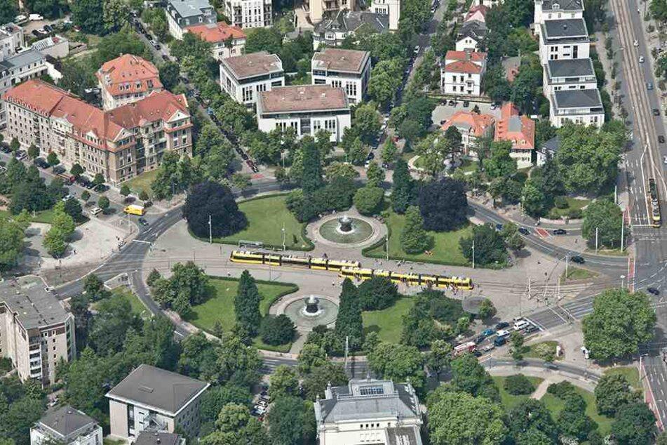 Die Kreisform des Albertplatzes ist geschützt - und behindert momentan die Radwegeplaner.
