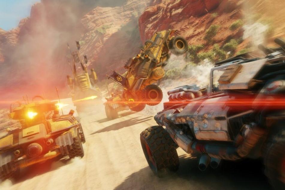 """Nicht nur zu Fuß, auch am Steuer zahlreicher Fahrzeuge lässt sich die Welt von """"Rage 2"""" erkunden. Geballert wird natürlich auch dann."""