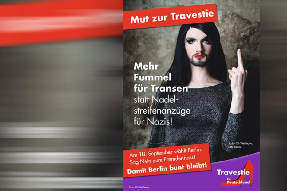 Dragqueen Jacky-Oh Weinhaus machte bereits 2016 in Berlin Werbung für die TfD.