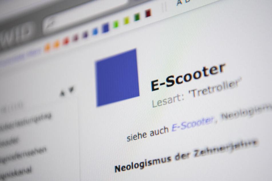 """In einem Online Wörterbuch steht das Wort """"E-Scooter""""."""