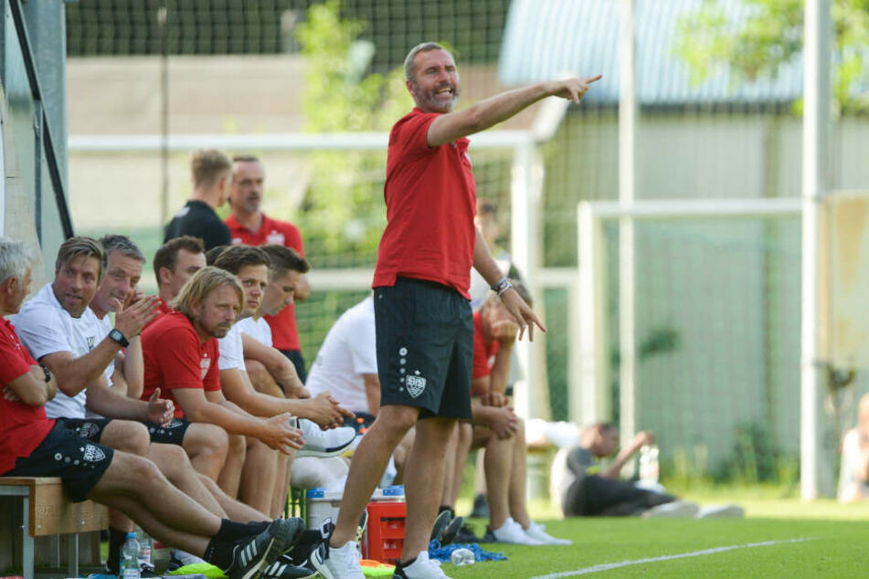 Stuttgarts Trainer Tim Walter gestikuliert neben dem Spielfeld.