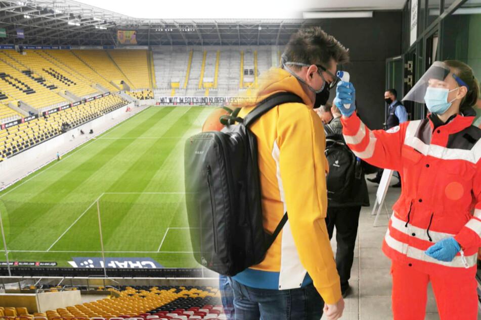 Vor der Partie und dem Betreten des Stadions wird bei TAG24-Redakteur Thomas Nahrendorf Fieber gemessen.