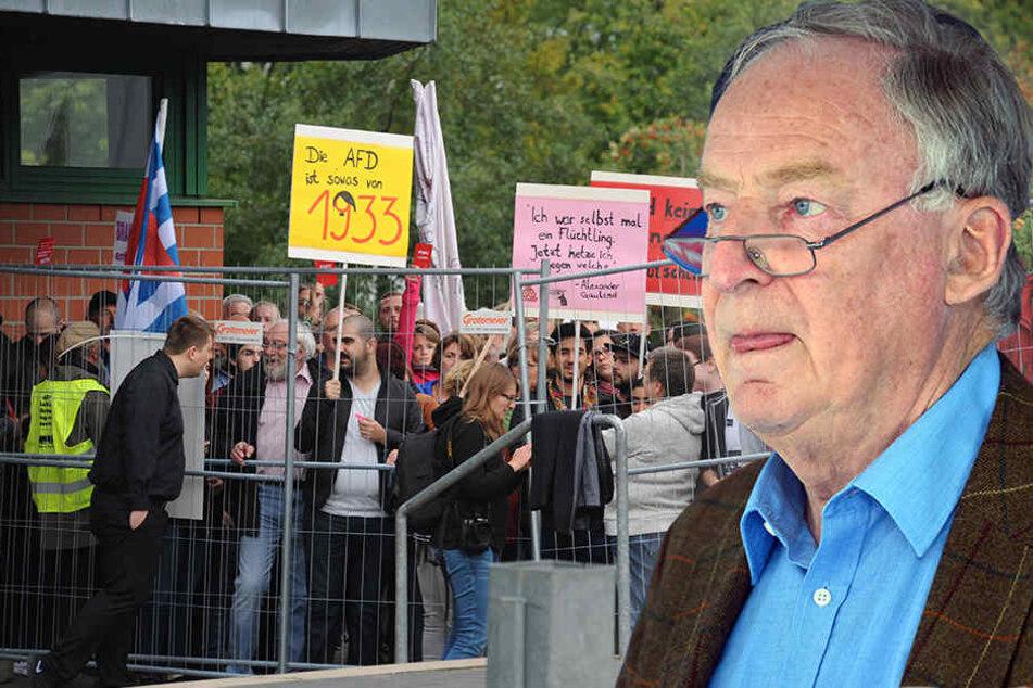 Lautstarker Protest bei Gauland-Auftritt in Hüllhorst