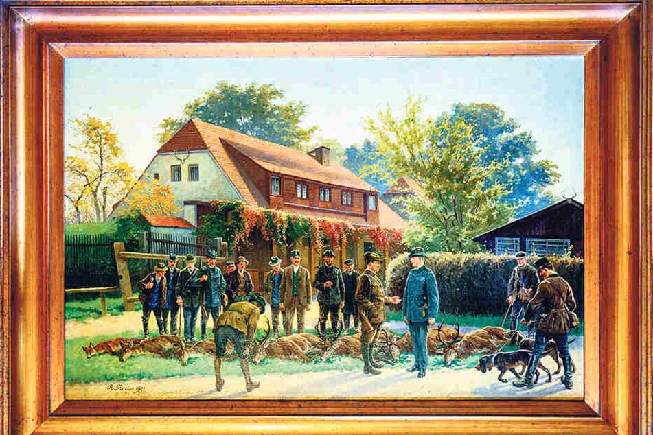 Auch dieses (bereits restaurierte) Gemälde mit der Hofewiese im Hindergrund wurde aus der vor  15 Jahren völlig verwahrlosten Wirtschaft gerettet.