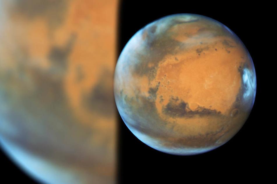 So sieht der Planet Mars aufgenommen vom Hubble-Weltraumteleskop aus.