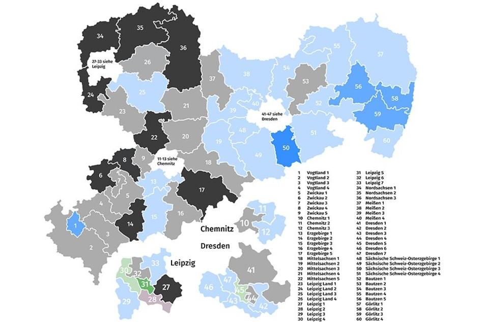 """Das Meinungsforschungsinstitut """"Wahlkreisprognose.de"""" sieht in zwei von drei Chemnitzer Wahlkreisen derzeit die AfD vorn."""