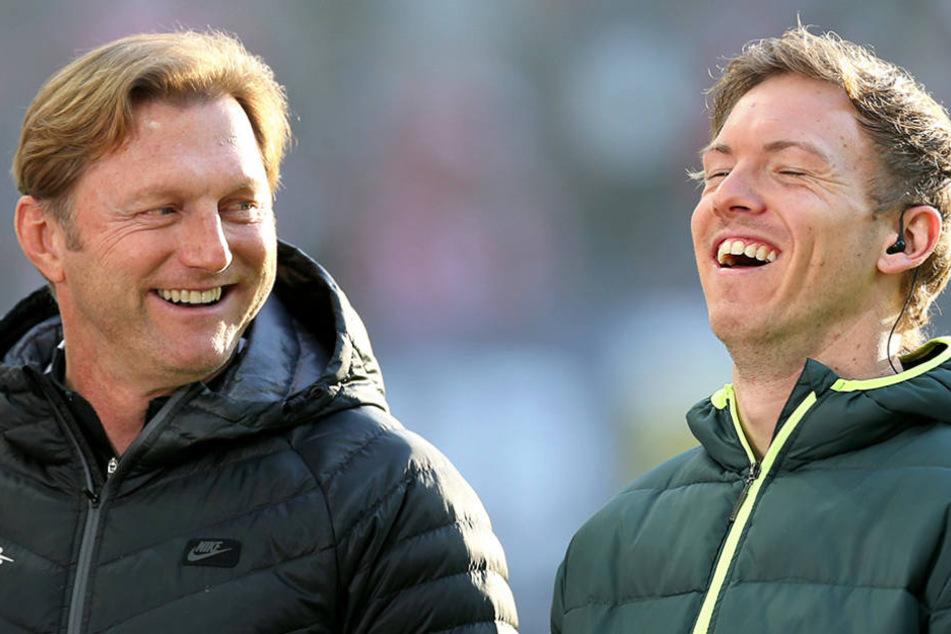 Die beiden Trainer waren gut gelaunt: Ralph Hasenhüttl (links, RB Leipzig) und  Julian Nagelsmann (TSG Hoffenheim).