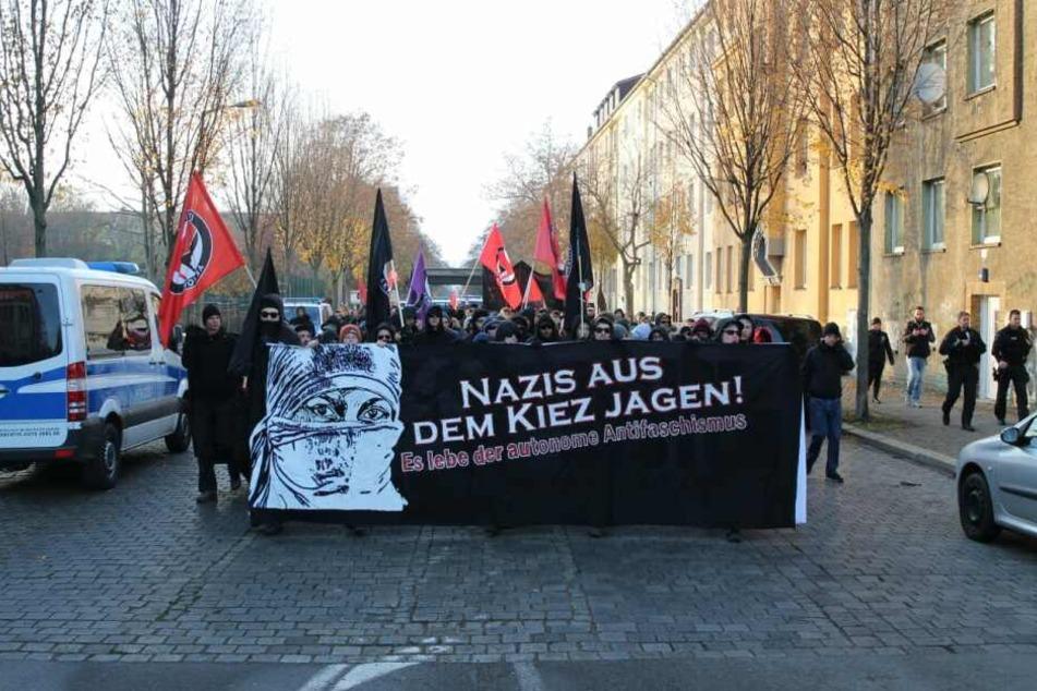 Demo gegen rechte Strukturen im Leipziger Osten.