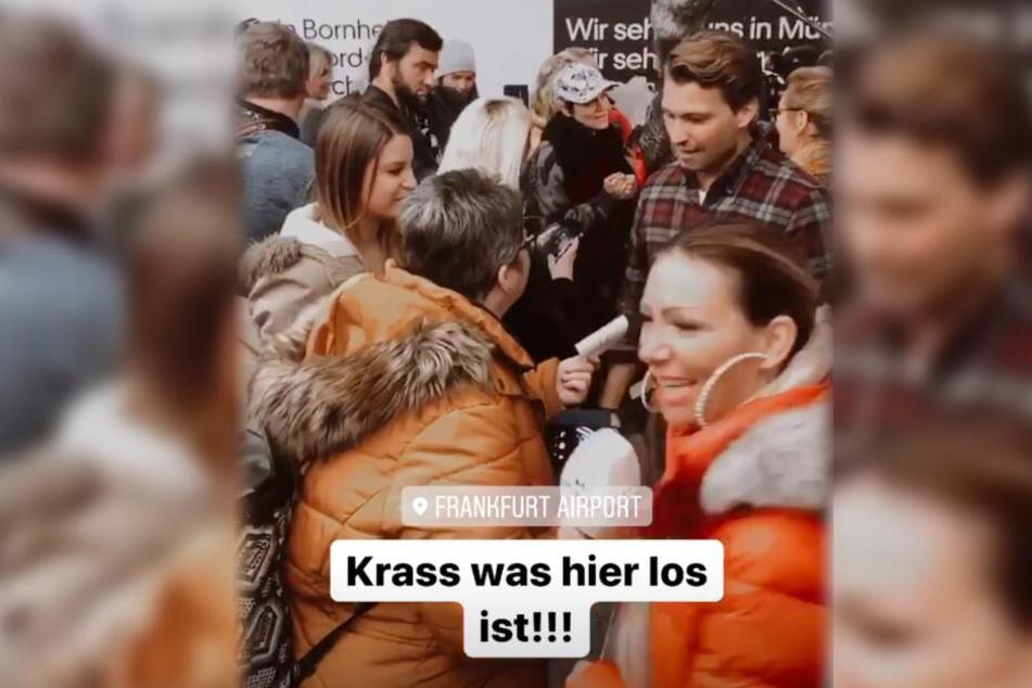 Dieser Screenshot einer Instagram-Story von Raul Richter zeigt, wie der 32-Jährige Schauspieler am Frankfurter Flughafen von Fans umringt wurde.
