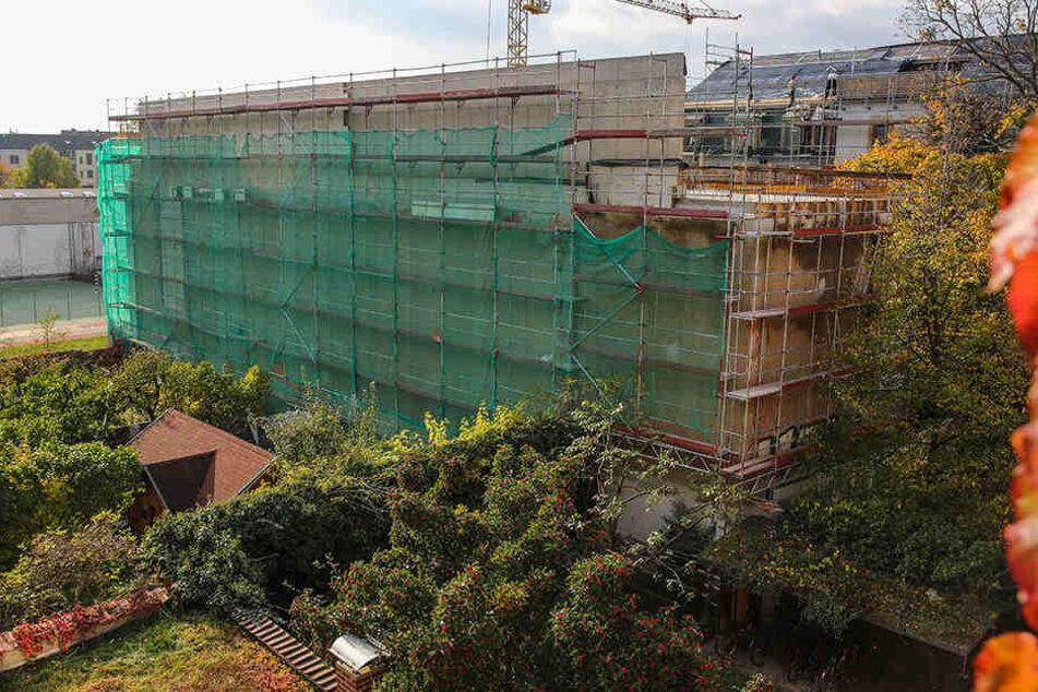 Passt das ins Viertel? Die Brandwand (rund 40 Meter lang) gehört zum Wohnhaus, das an der Seifhennersdorfer Straße gebaut wird.