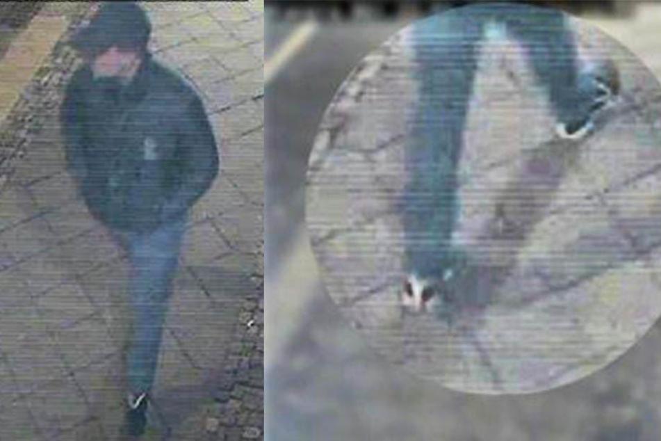 Der Täter trug schwarze Turnschuhe mit weißen Applikationen.