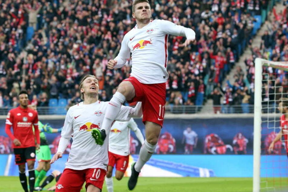 Brillieren die beiden auch noch nächste Saison gemeinsam? Top-Vorbereiter Emil Forsberg und Top-Torschütze Timo Werner.