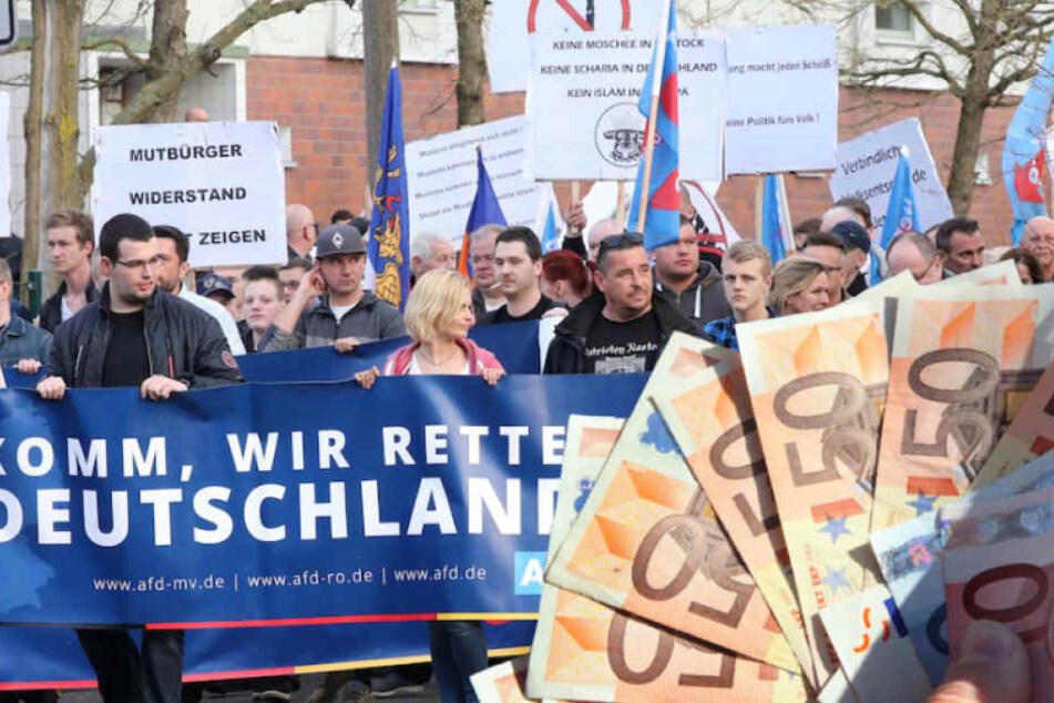 Die AfD lockt Demonstranten mit Geld nach Berlin. (Bildmontage)