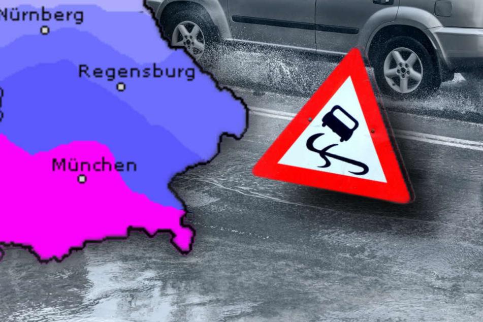 Durch den Starkregen können Verkehrsbehinderungen auftreten. (Symbolbild)