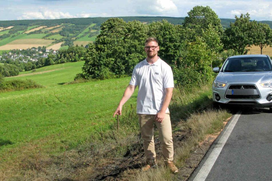 Der Lebensretter: Kristian Mauersberger (26) rettete eine junge Mutter und ihr Baby aus einem brennenden Auto.