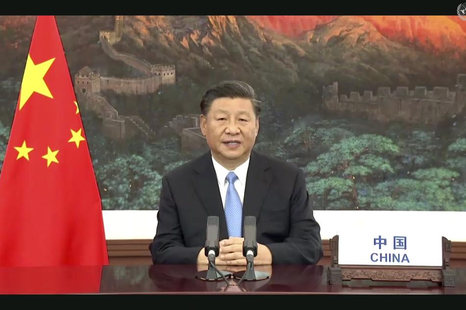 Xi Jinping, Präsident von China, spricht während einer vorab aufgezeichneten Videobotschaft anlässlich des Beginns der Generaldebatte der 75. UN-Vollversammlung.