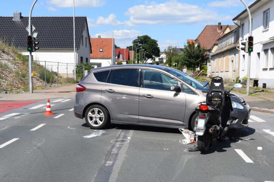Die Autofahrerin übersah den Rollerfahrer.