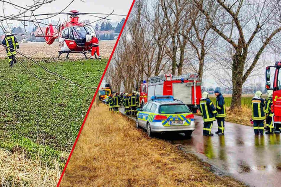 Der bei dem Unfall schwer verletzte 31-jährige Fahrer musste mit einem Rettungshubschrauber ins Krankenhaus geflogen werden.