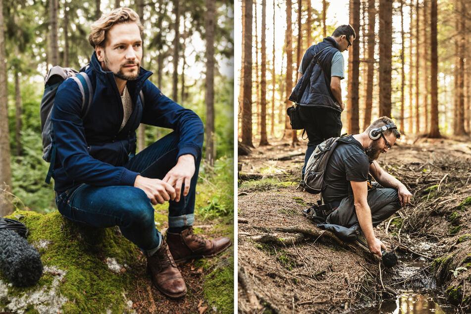 Felix Räuber lässt die Klangkulisse des Waldes auf sich wirken. Wie klingt der Wald? Das Plätschern eines Baches und andere Naturgeräusche fängt das Team für seine Doku ein.