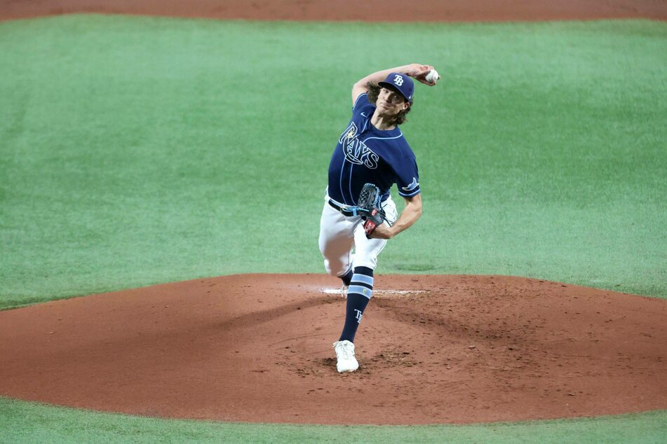 Rays starting pitcher Tyler Glasnow got his second win of the season pithcing five innings with seven strikeouts