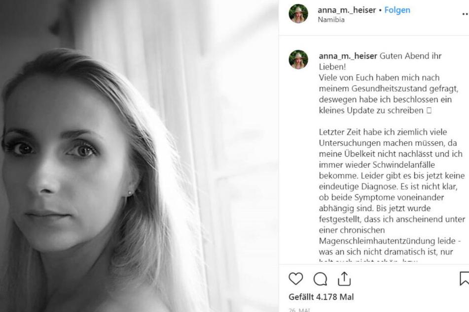 Ende Mai gab Anna Heiser (29) bekannt wie schlecht es ihr gesundheitlich geht.