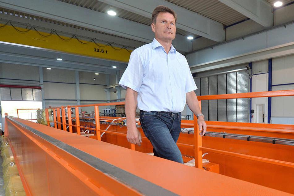 Mechanik-Taucha-Chef Olaf Brauer: Der Kran-Hersteller leidet unter den Sanktionen.