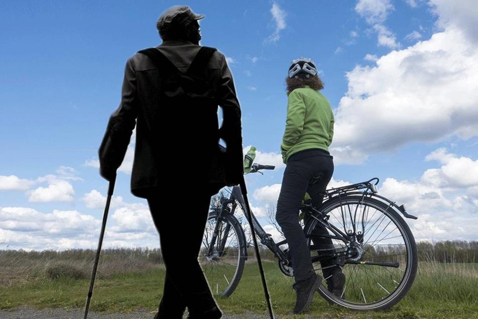 Ein Rentner schlug mit seiner Gehilfe auf eine Radfahrerin ein und verletzte sie (Symbolbild).