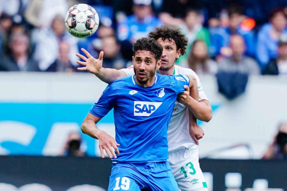 Wer bekommt die Kugel? Hoffenheims Ishak Belfodil (vorne) und Bremens Milos Velijkovic (hinten).