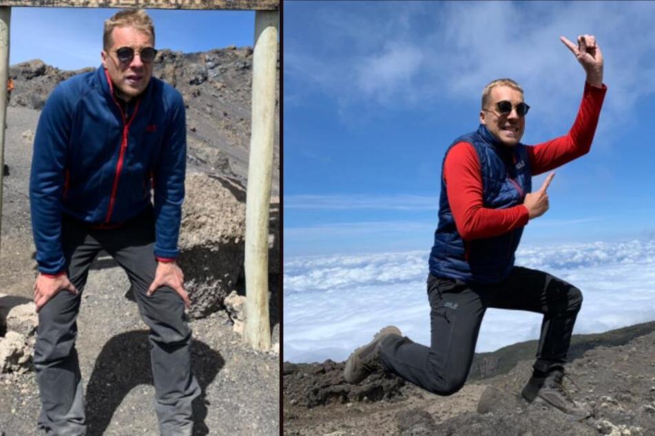 Auf dem Kilimandscharo angekommen, überwog die Freude den Aufstieg endlich geschafft zu haben.