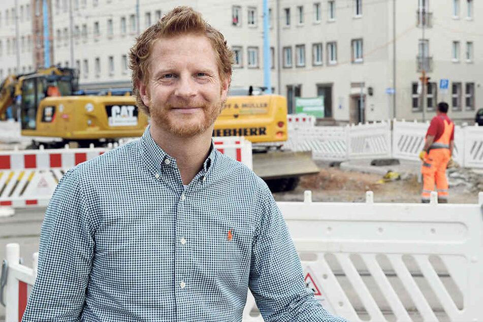 Auch Baubürgermeister Michael Stötzer (44, Grüne) war auf der Baustellenparty dabei.