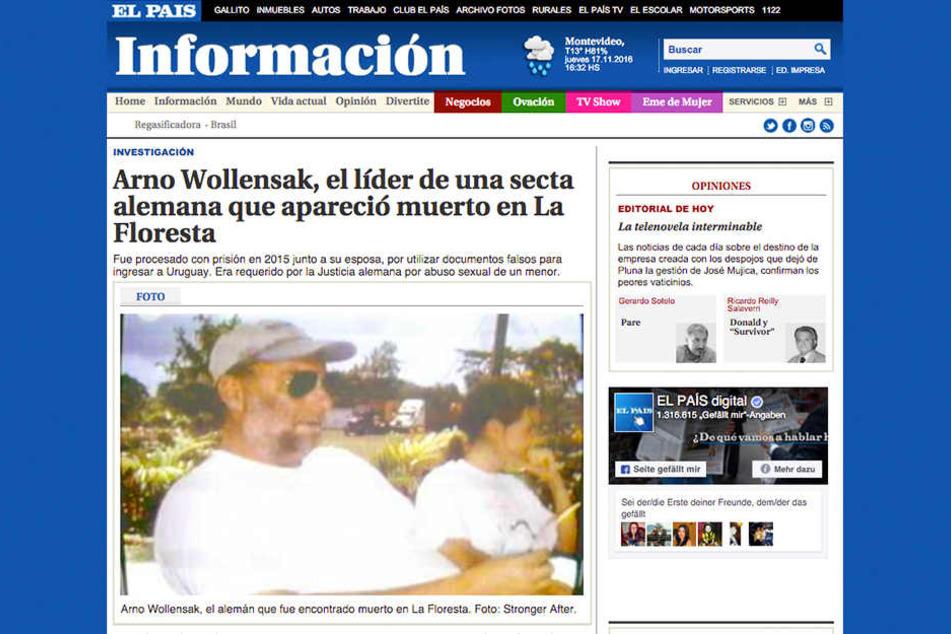 Die Zeitung El País berichtete im August über den Mord an Arno Wollensak.