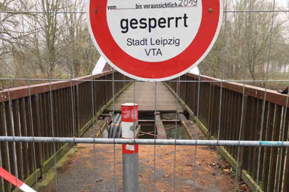 Bis zum Abschluss der Bauarbeiten soll die Brücke gesperrt bleiben.