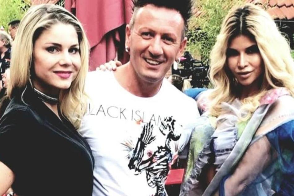 """Auf seinem Instagram-Kanal zeigte sich Ennesto Monté mit der """"Nacktschnecke"""" Micaela Schäfer (Re.) und Schauspielerin Yvonne Woelke."""