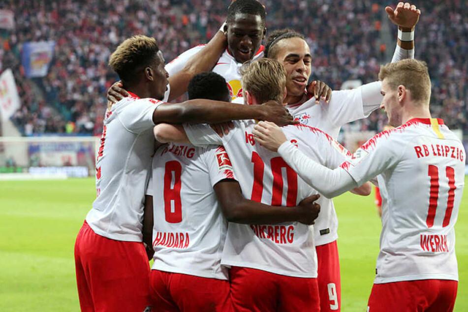 Kam aus dem Feiern gar nicht raus: RB Leipzig durfte sich über fünf Tore freuen.