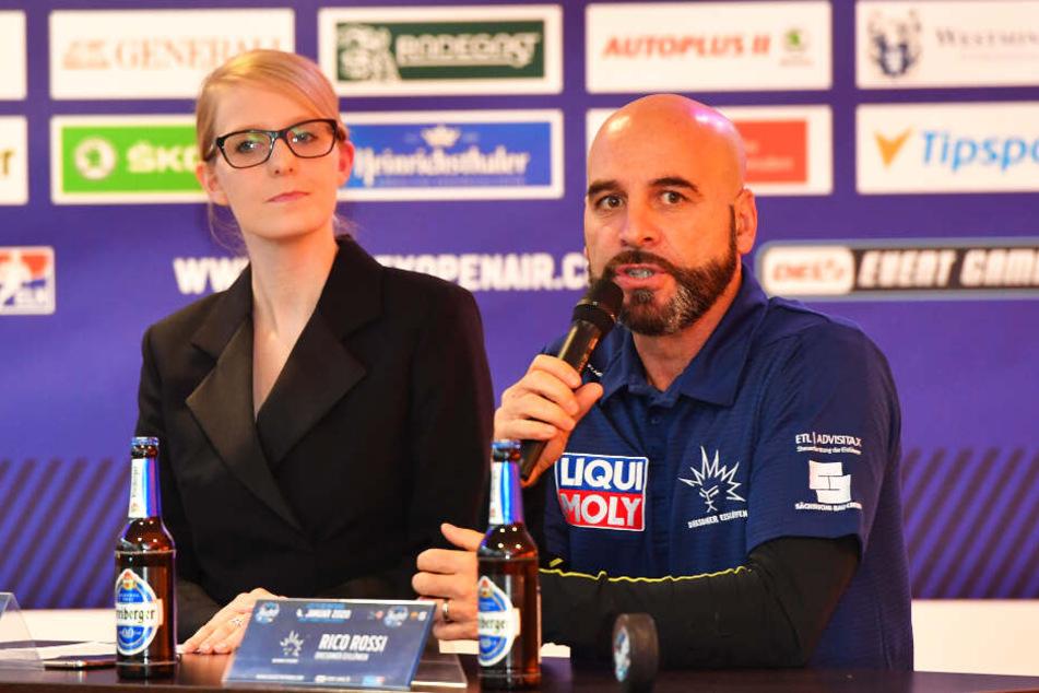Eva Wagner und Eislöwen-Coach Rico Rossi.