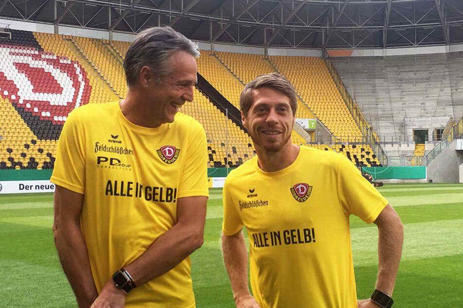 """Die Stimmung am Freitag war bei Trainer Uwe Neuhaus und Andreas """"Lumpi"""" Lambertz richtig gut."""