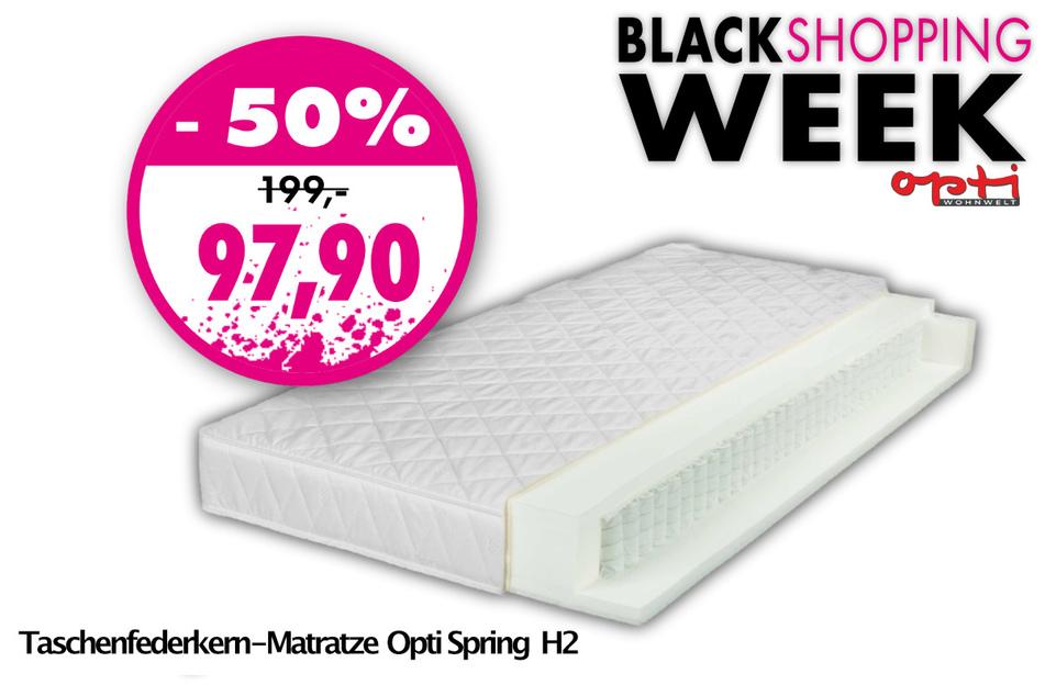Die Taschenfederkern-Matratze Opti Spring H2 für nur 97,90 Euro statt 199 Euro.