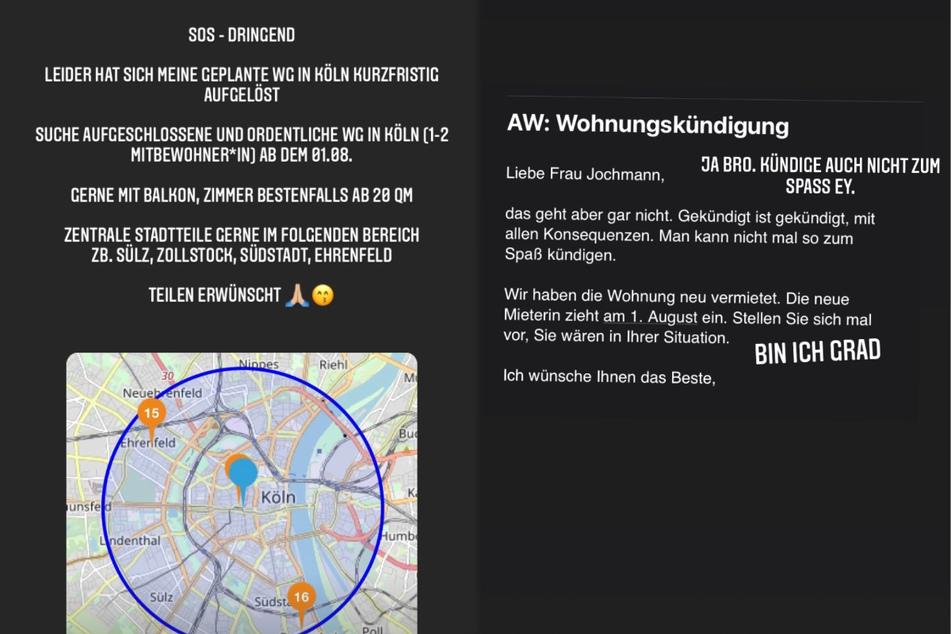 Wie Josimelonie (27) am späten Dienstagabend auf Instagram bekannt gab, sucht sie dringend ein WG-Zimmer in Köln.