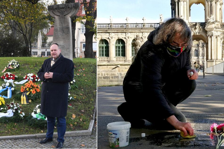 Dresden: Pogromnacht vor 82 Jahren in Dresden: Esther Ludwig putzt Stolpersteine gegen das Vergessen