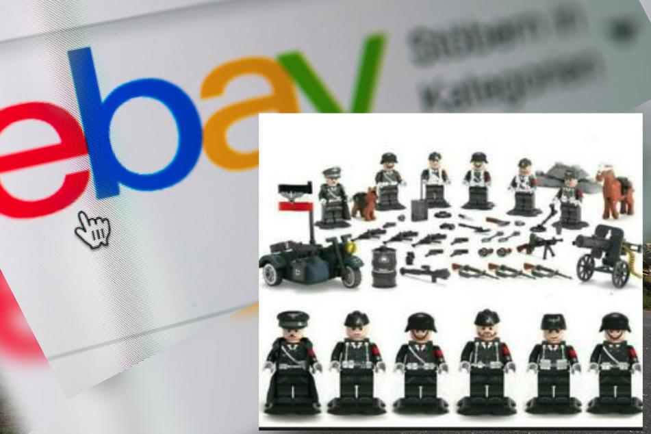 Dieses Figurenset mit Reichkriegsflagge und einer Hitler-Abbildung wurde auf eBay zum Verkauf angeboten.