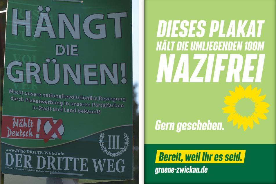 """Mit der Aktion wollen die Grünen in Zwickau es dem """"III. Weg"""" quasi unmöglich machen, ihre """"Hängt die Grünen""""-Plakate aufzuhängen."""