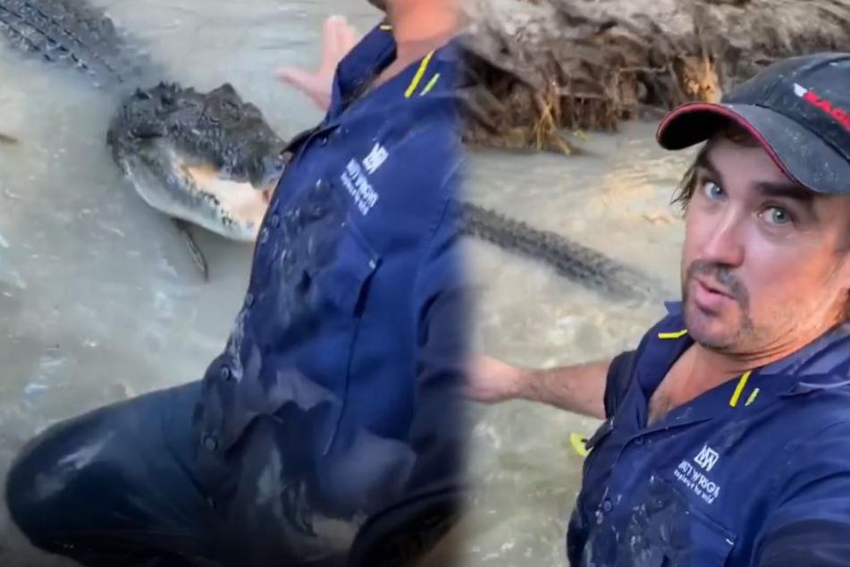 Mann wird von Krokodil verfolgt: Seine Reaktion haut alle um