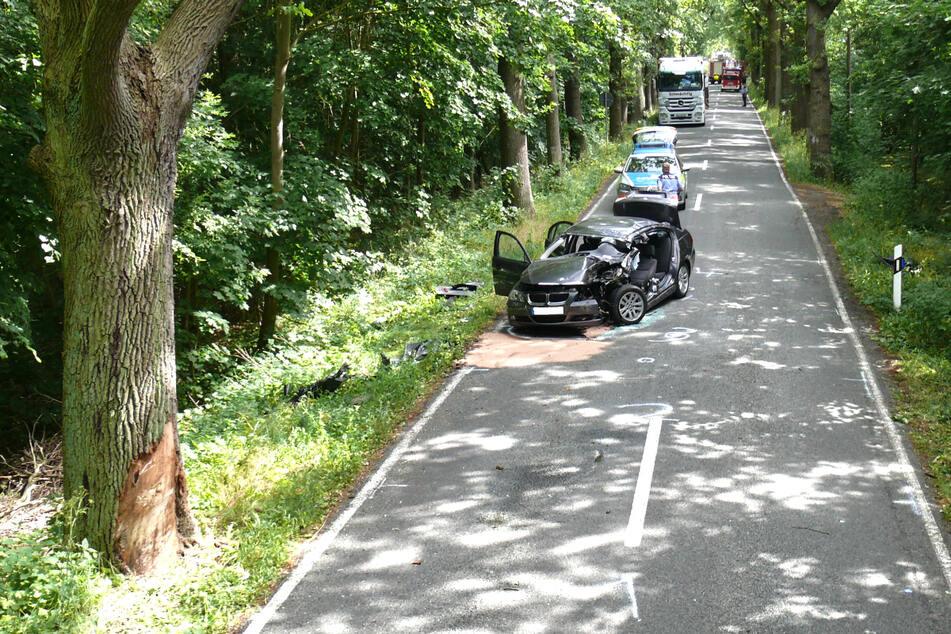 Der BMW-Fahrer (77) war am Montagnachmittag bei Havelberg von der Straße abgekommen und gegen diesen Baum gekracht. Er wurde schwer verletzt.