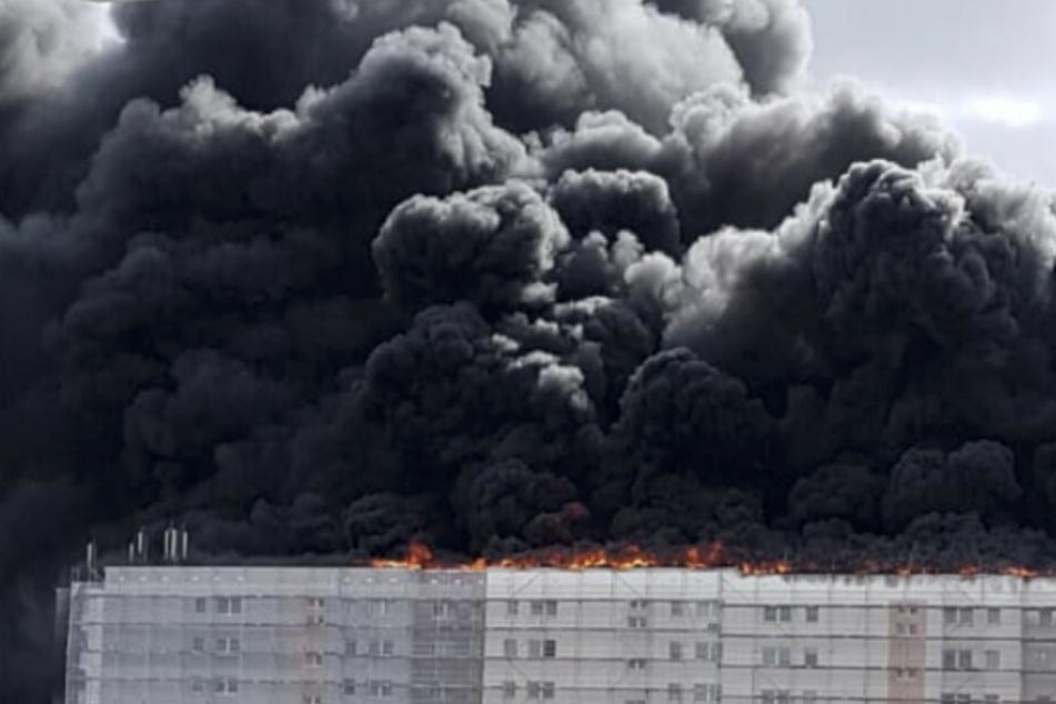 Riesige Rauchwolke: Großbrand im Osten Berlins größtenteils gelöscht