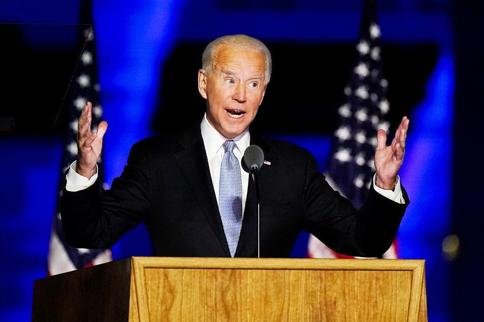 """Joe Biden (77), """"Gewählter Präsident"""" (""""President Elect""""), hält eine Ansprache."""