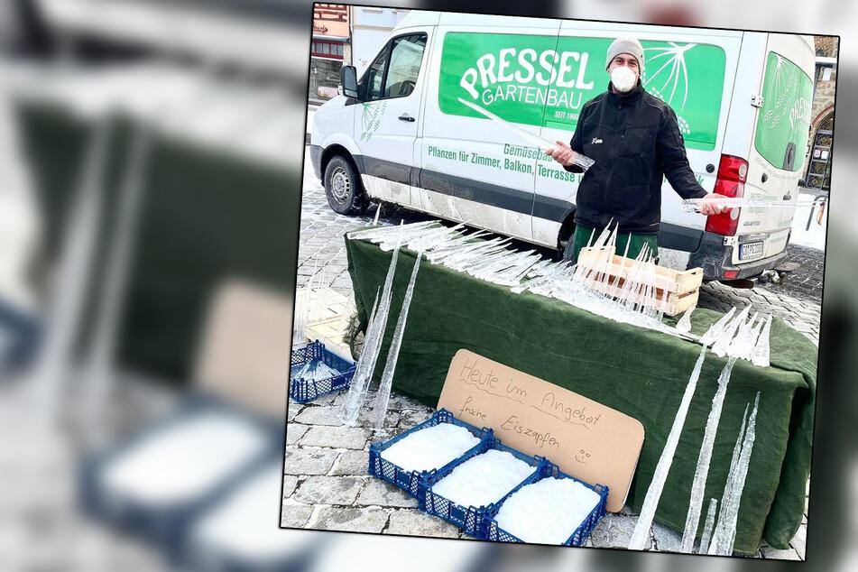 Zu kalt für Obst und Gemüse: Gärtnerei verkauft Eiszapfen auf Wochenmarkt